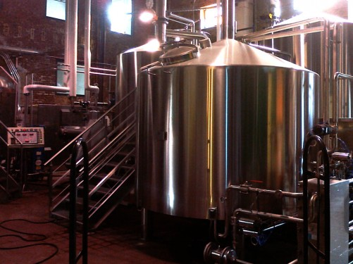 A steel tank at Brooklyn Brewery