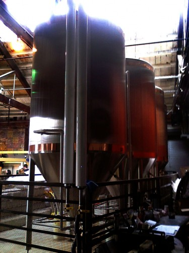 Steel tanks in brewery